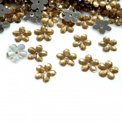 20 petites fleurs en cristal transparent pour decoration, a coudre ou a coller