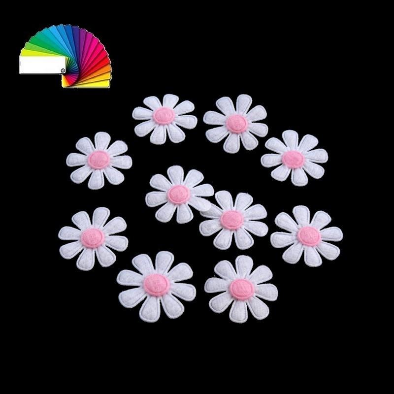 10 marguerites en feutre blanc rose 27 mm