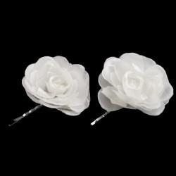 2 fleurs satin sur pince cheveux