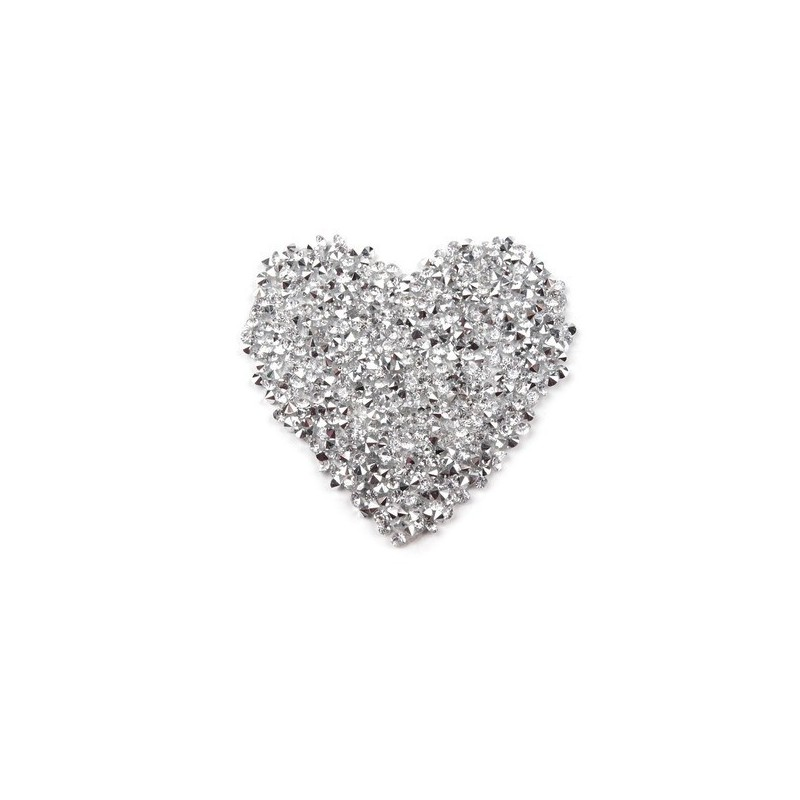 Applique coeur en strass sur adhesif thermocollant