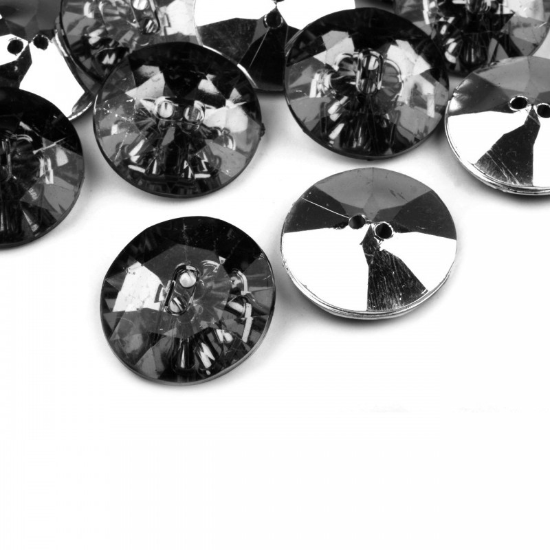 5 boutons cristal 25 mm