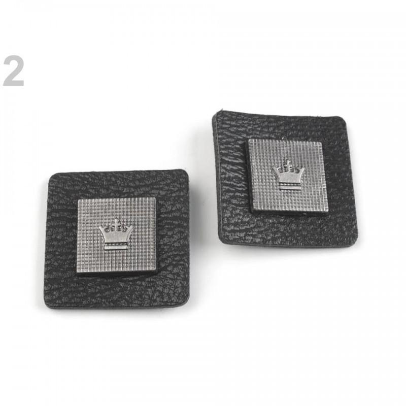 2 labels étiquettes cuir et métal couronne noir