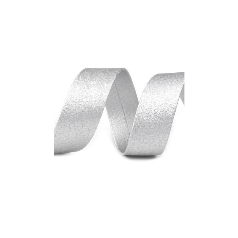 Biais en cuir synthetique galon gris argent 15 mm pour finitions et bordures