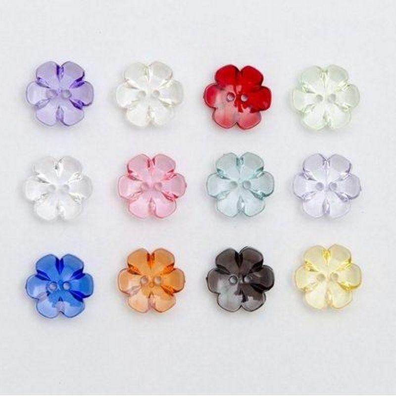 6 boutons transparents fleurs 13 mm