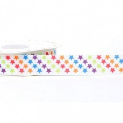 Ruban 22 mm polyester motif etoiles multicolore