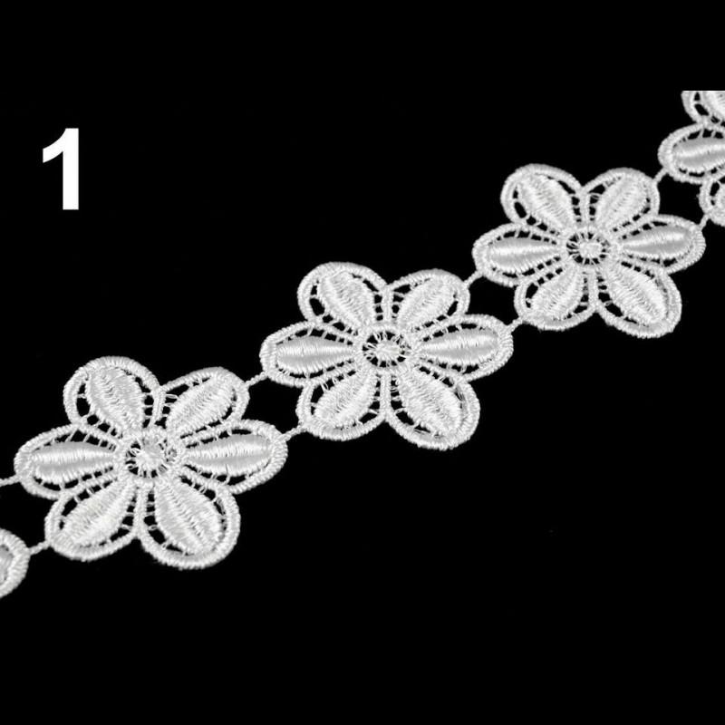 Dentelle guipure fleur 45 mm blanc