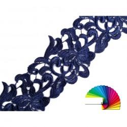 Ruban 75 mm dentelle bleu marine