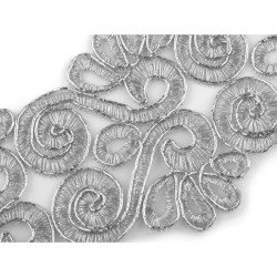 Ruban 7 cm dentelle broderie lurex or