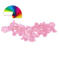 Application dentelle sequins perles rose