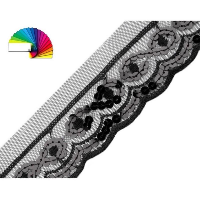 Galon de dentelle gris orne de sequins argent 50 mm large