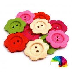 2 boutons fleurs bois
