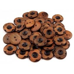 5 boutons fleurs bois 25 mm