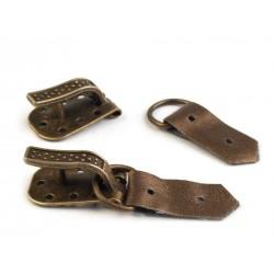 Boucle et crochet métal et simili cuir