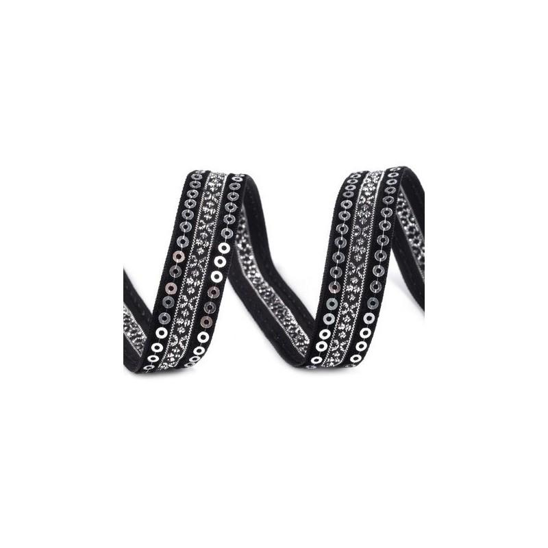 Ruban velours et satin noir brode de sequins argent 15 mm
