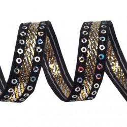Ruban velours et satin noir brode de sequins or 15 mm