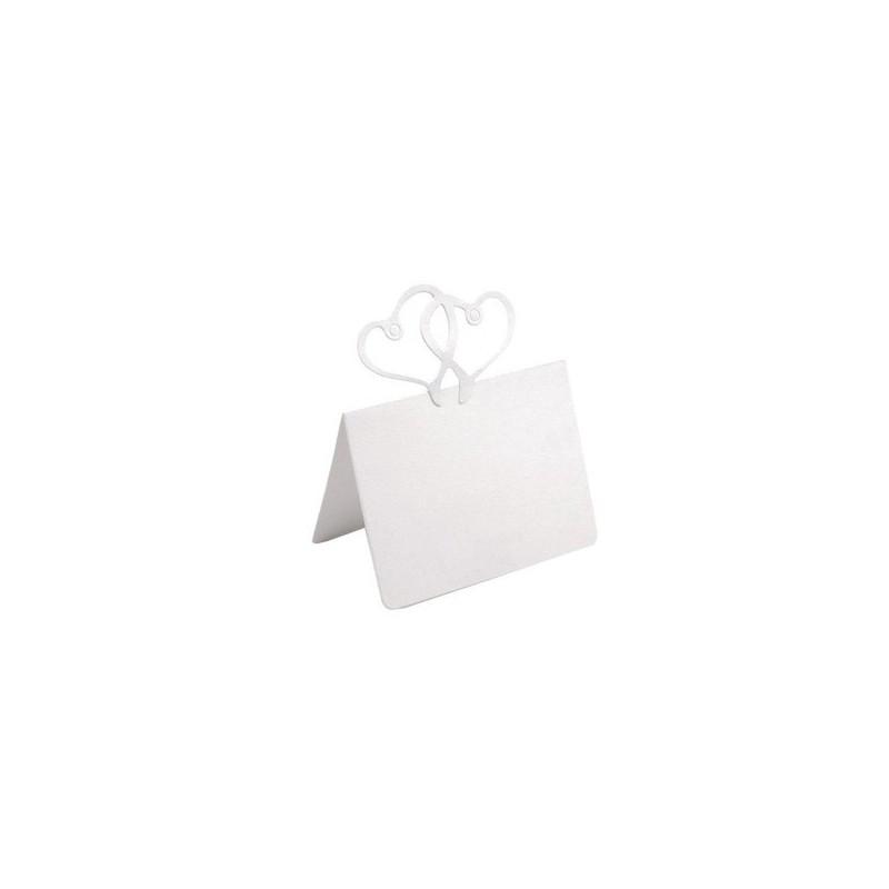 6 Cartons blancs marque place ou marque table avec coeurs