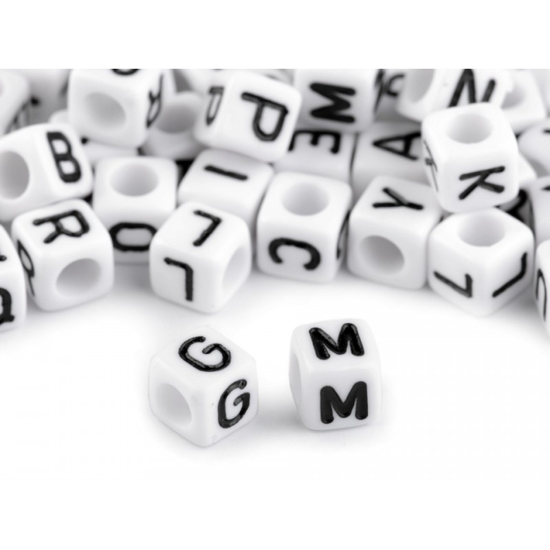 10 perles lettres cubes 6 mm