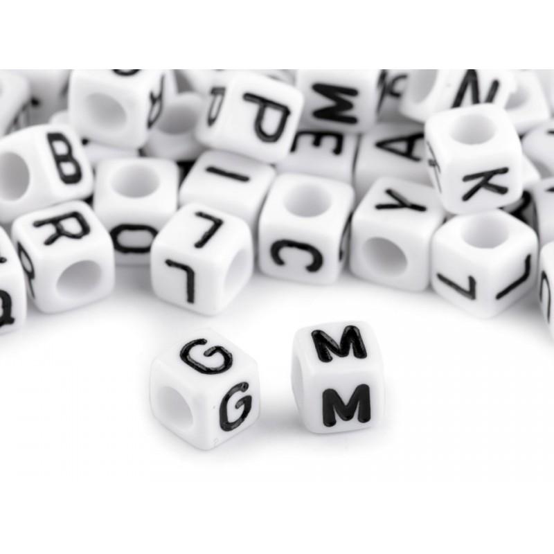 10 perles lettres cubes 6 mm