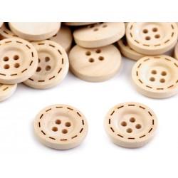 10 boutons bois 18 mm effet surpiqures