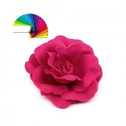 Grosse rose fleur en satin polyester rose fuchsia 6 cm