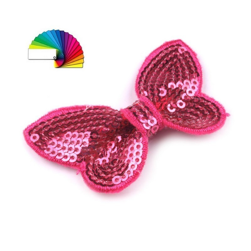 Noeud papillon en sequins rose fuchsia brillants 40 x 70 mm