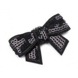 Noeud de ruban en sequins noirs brillants 30 x 45 mm