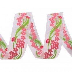Ruban blanc a fleurs coloris rose et vert 22  mm