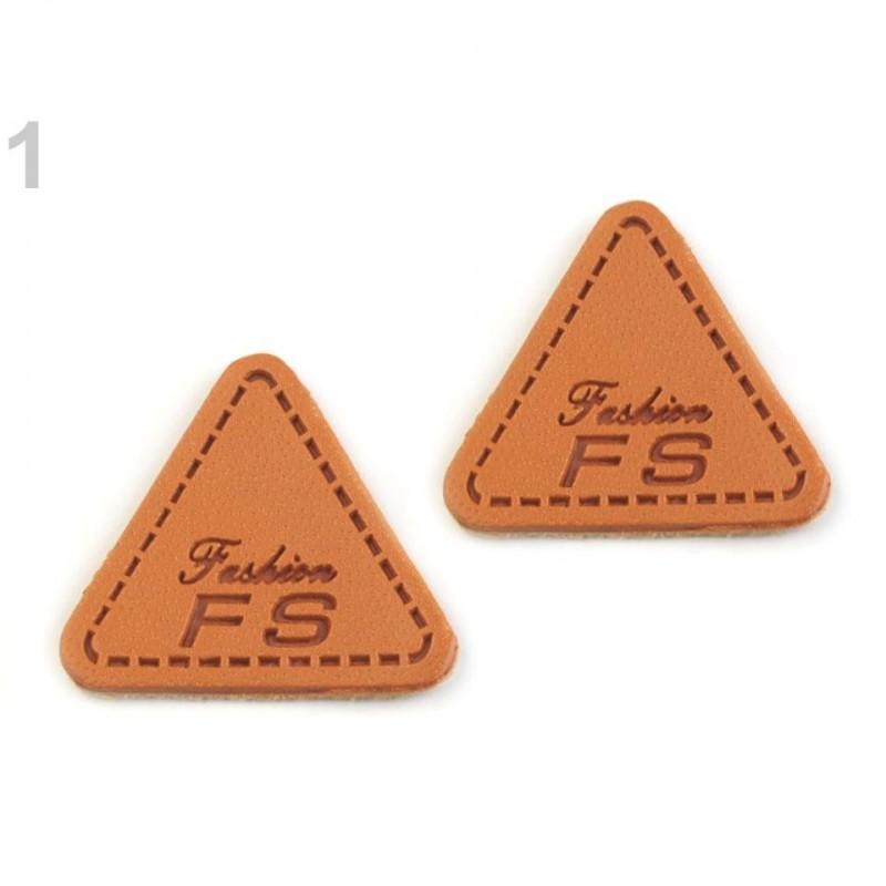 4 labels étiquettes cuir triangle noir