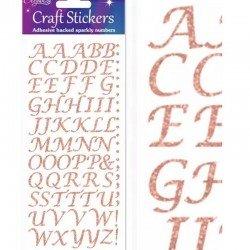 55 Lettres italiques paillettes or autocollantes