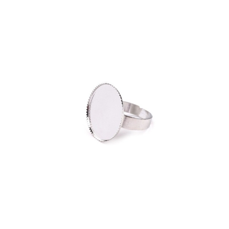Base en metal argente pour creation de bague 20 mm