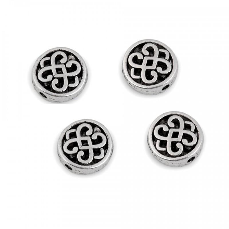 4 perles métal / embouts corde celtique