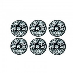 6 boutons noirs avec strass