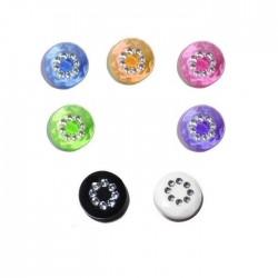 6 boutons couleur et strass