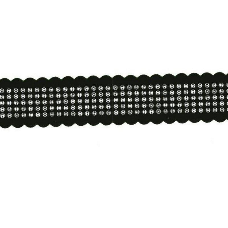 Galon 25 mm noir et strass