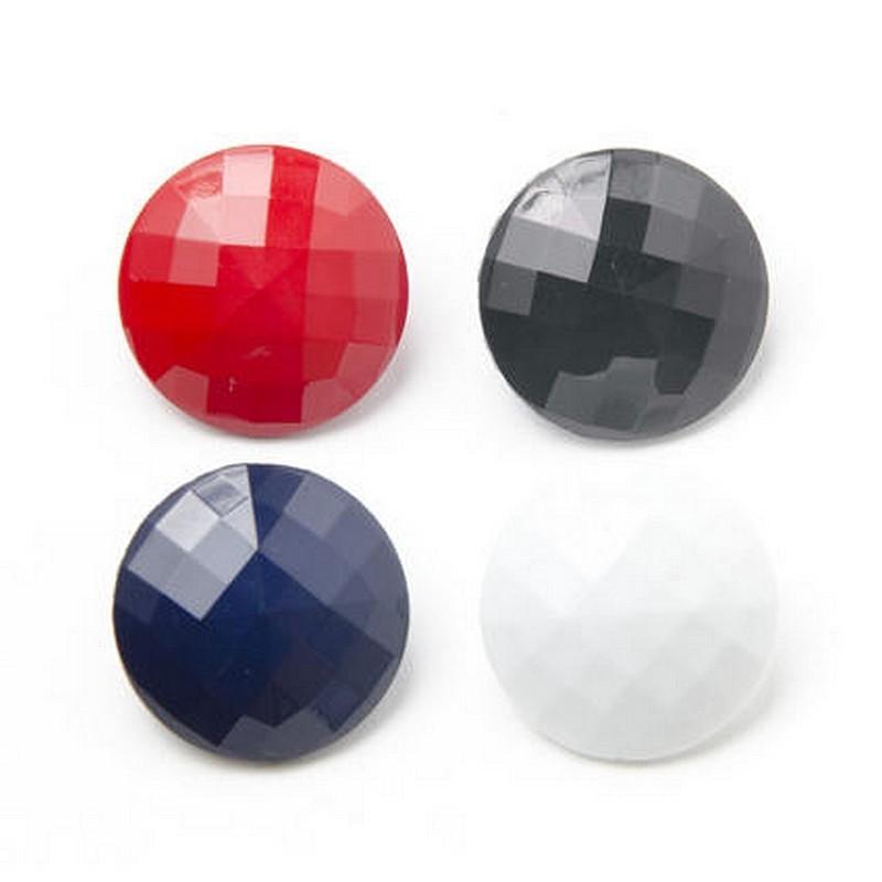 6 Boutons ronds acrylique facettes