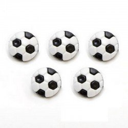 5 boutons ballon football 13 mm