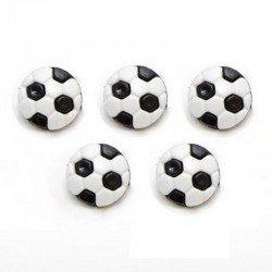 5 boutons ballon football 13 mm