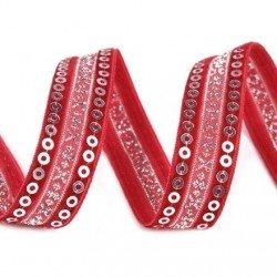 Ruban velours et satin rouge profond brode de sequins argent 15 mm