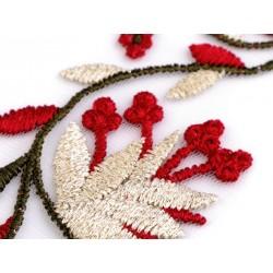 Ruban organza brodé guirlande fleurs 6 cm