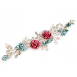 Application dentelle fleurs 12 x 23 cm