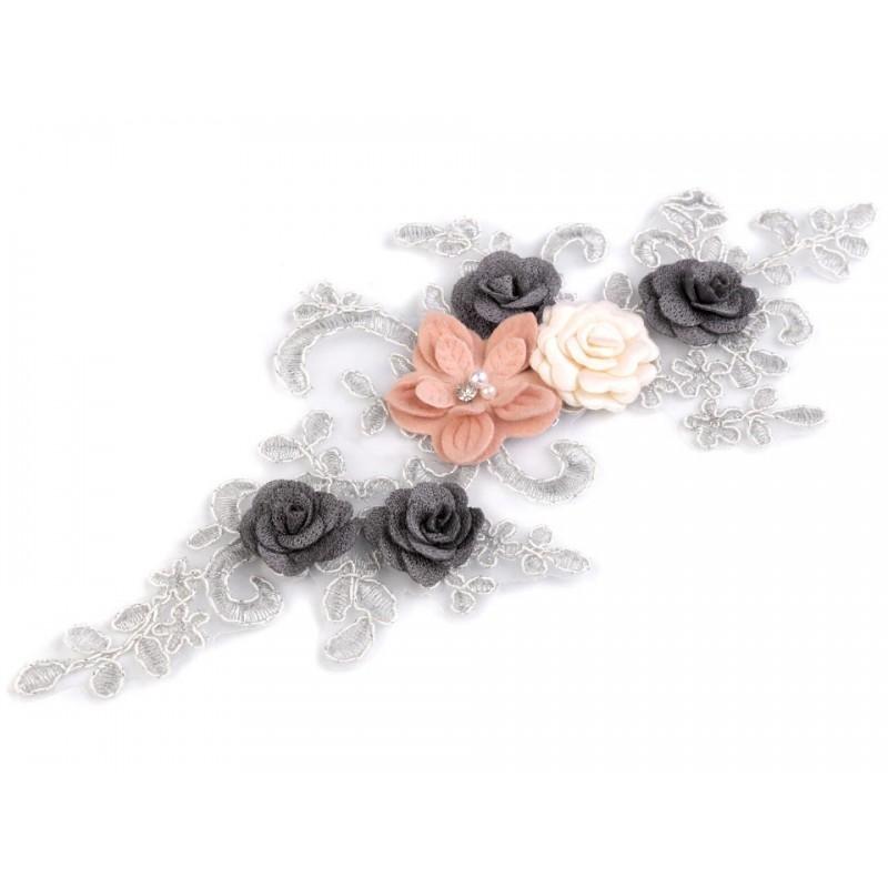 Application dentelle fleurs 9 x 32 cm