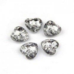 5 boutons 16 mm coeur cristal transparent