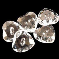 5 boutons 14 mm en cristal forme coeur transparents