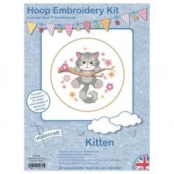 Kit créatif chat broderie point de croix et cadre cercle
