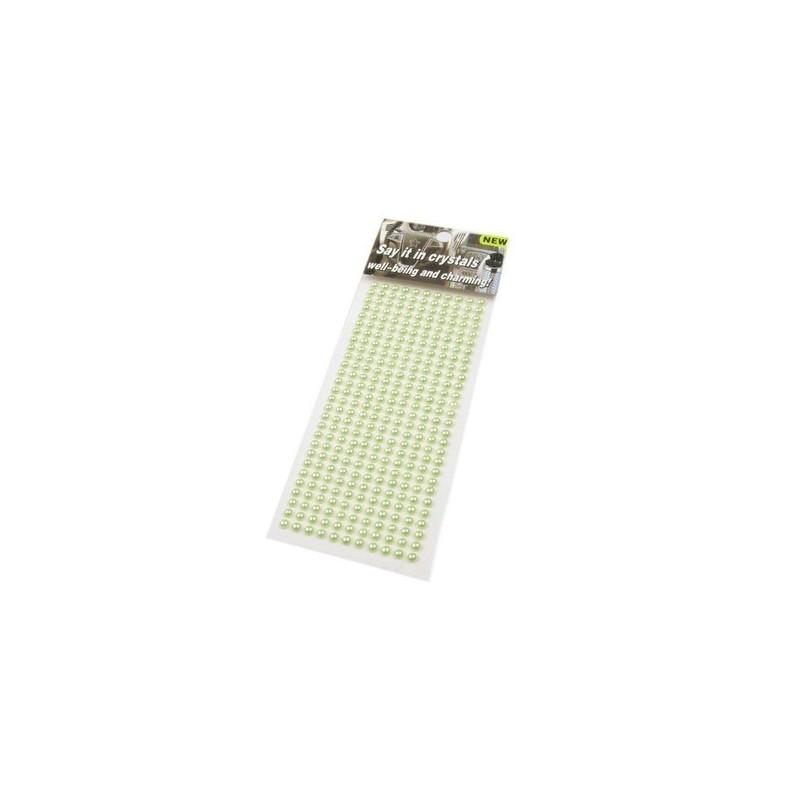 308 demi perles 4 mm autocollantes vert anis
