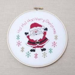 Kit créatif Père Noel broderie point de croix et cadre cercle