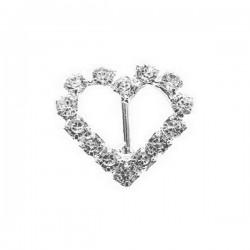 Boucle coeur strass cristal imitation diamant 15 x 16 mm