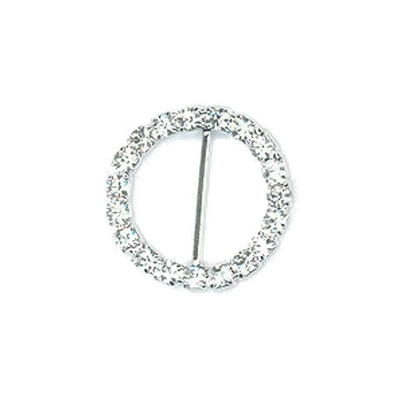 Boucle cercle en strass 18 mm avec barrette centrale