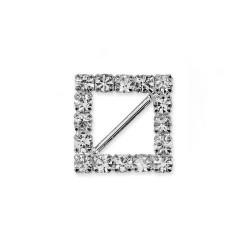 Boucle carre en strass 12 mm avec barrette diagonale