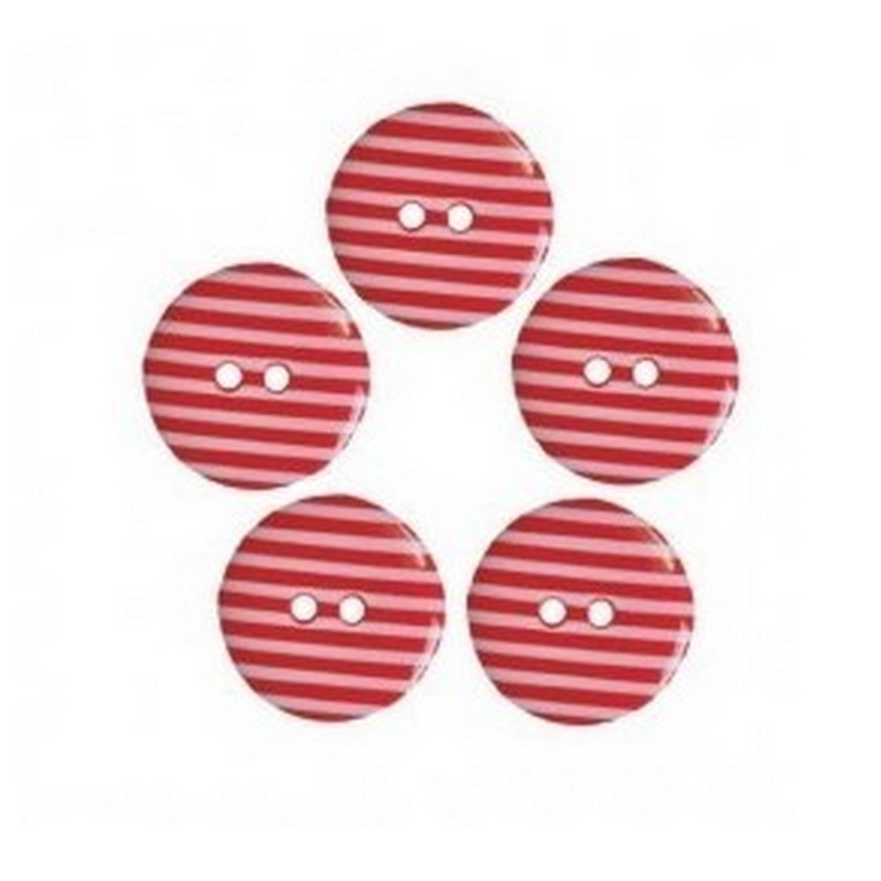5 boutons rayes rouge 18 mm avec 2 trous
